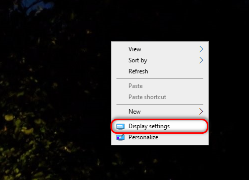 Display Settings Windows 10
