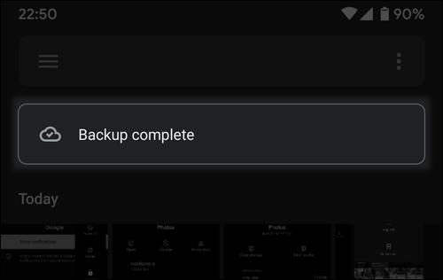Google Photos backup complete Android 10