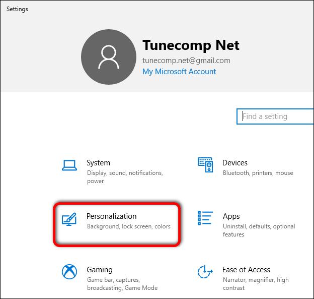 Windows 10 Settings Personalization