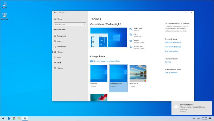 light theme Windows 10 1903 May 2019 update