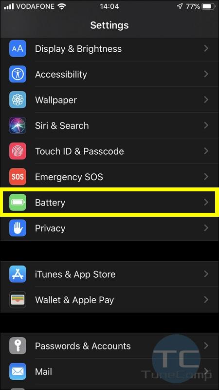 Battery Settings iOS 13