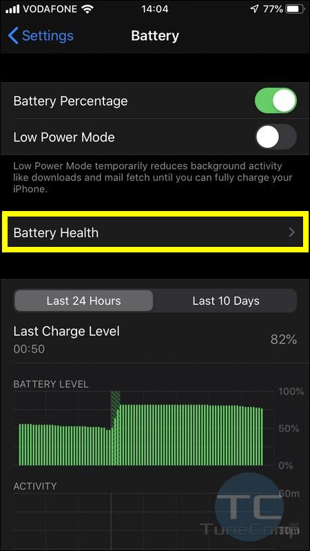 Battery health iOS 13