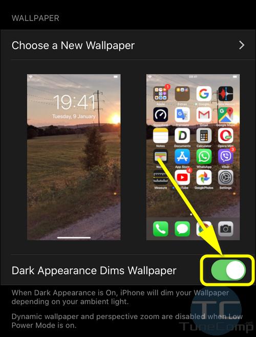 Dark Appearance Dims Wallpaper iPhone iOS 13