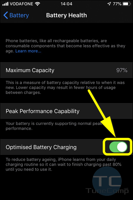 Optimised Battery Charging iPhone iOS 13