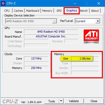 Check VRAM capacity in CPU-Z