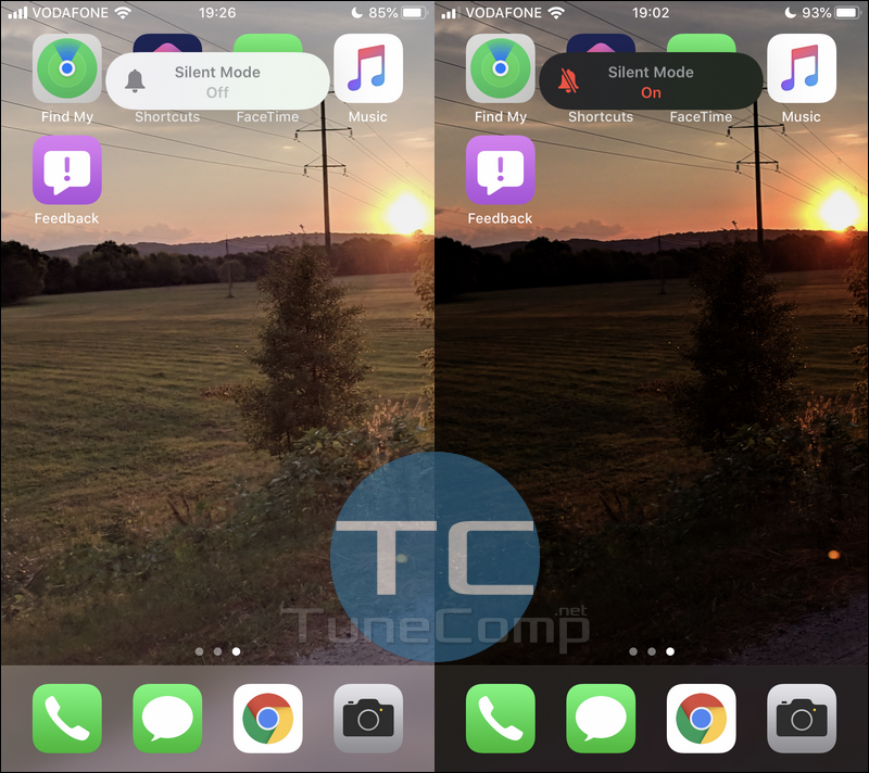 iPhone Dark Mode iOS 13 Home screen + silent mode indicator