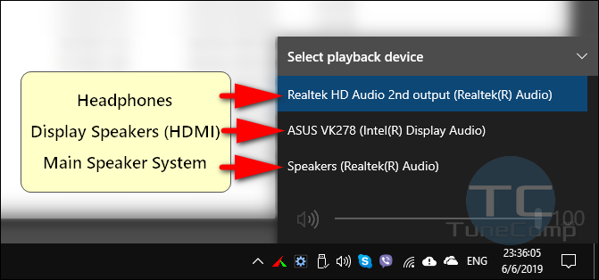 select audio output device for playback Windows 10 taskbar