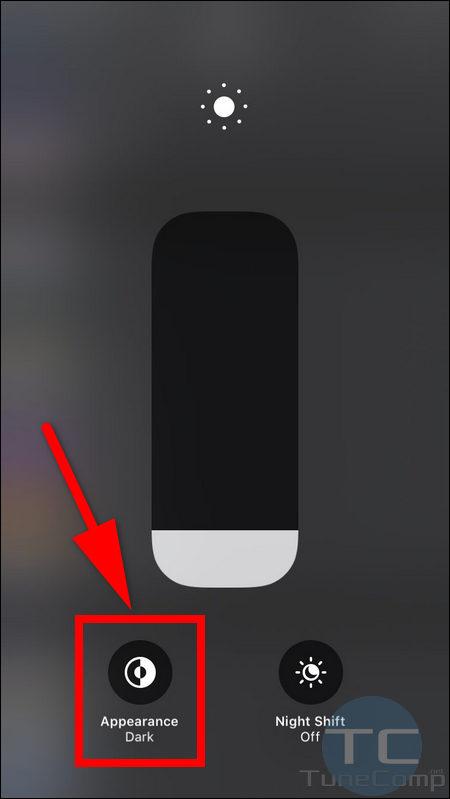 toggle appearance dark light Control Centre iPhone