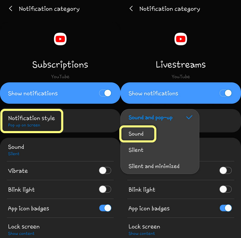 Disable Pop up for notification category on Galaxy S10 OneUI