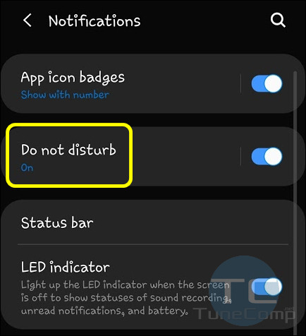 Do Not Disturb One UI Android 9