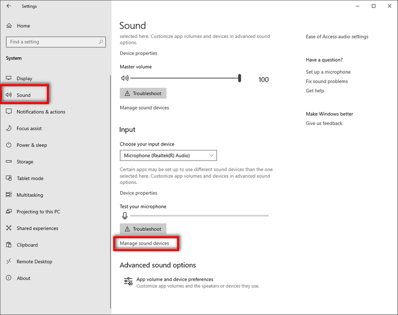 Manage sound devices Windows 10 settings