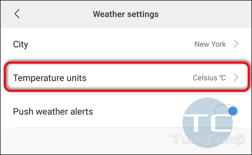 Mi Fit change Temperature Units