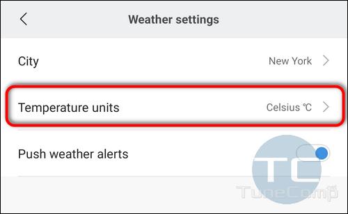Mi Fit change Temperature Units