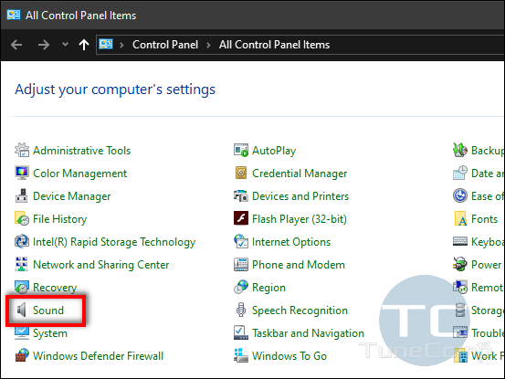 Sound Settings in Control Panel Windows 10