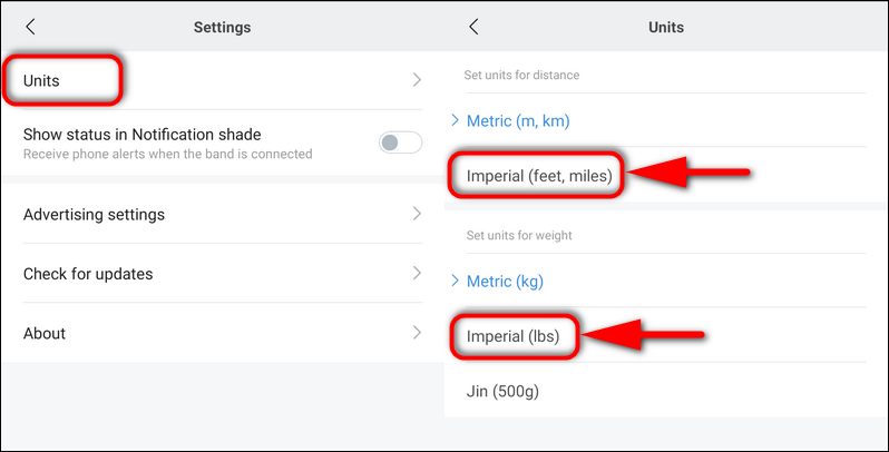 How to Change Weight, Distance and Temperature Units on Mi Band 4