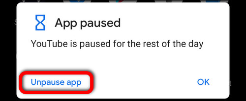 YouTube is paused for the rest of the day - Unpause
