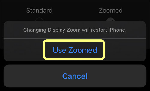 confirm zoomed view setting on iPhone