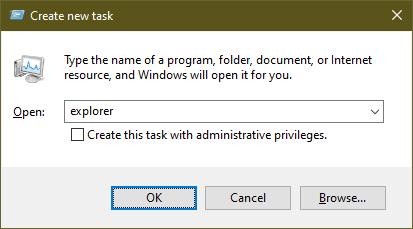 restart explorer Windows 10 run