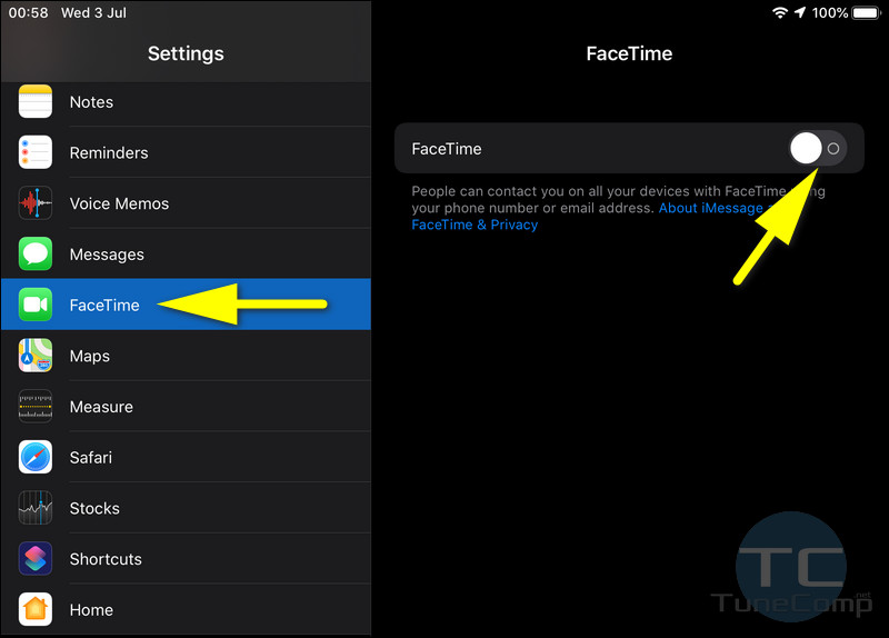 toggle off Facetime on iPad iPadOS 13