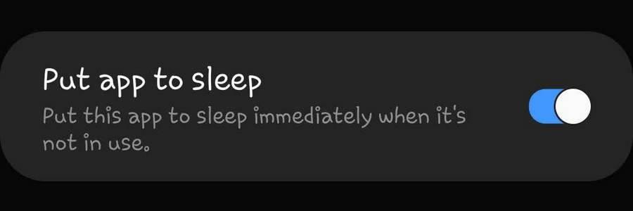 Put app to sleep Galaxy S10 Note 10 One UI