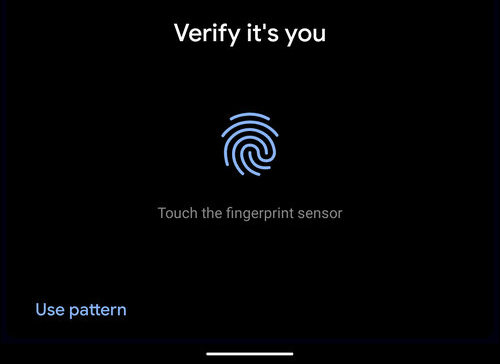 Verify it's you Android 10