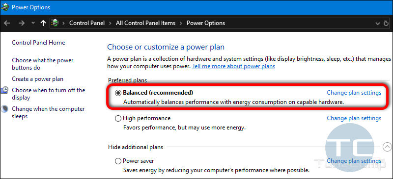 Balanced Power Profile Windows 10
