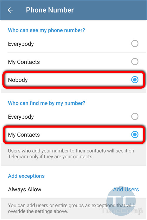 Hide phone number in Telegram on Android