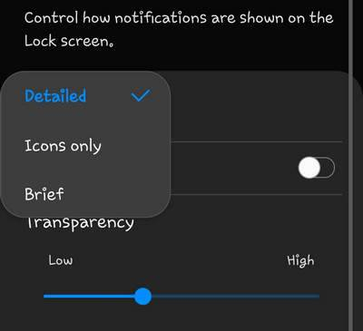 Lock screen notifications view style Galaxy S10 Android 9