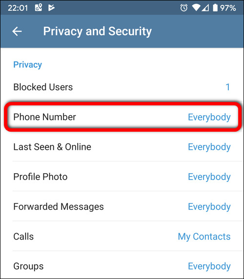 Phone number privacy Telegram Android