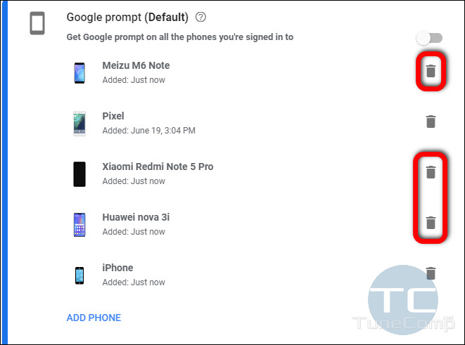 manually remove unnecessary devices from the Google Prompt list