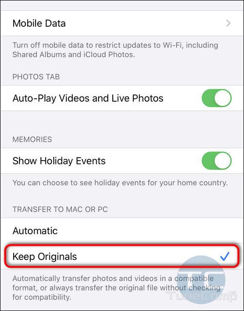 Transfer to Mac or PC Keep Originals iOS 13