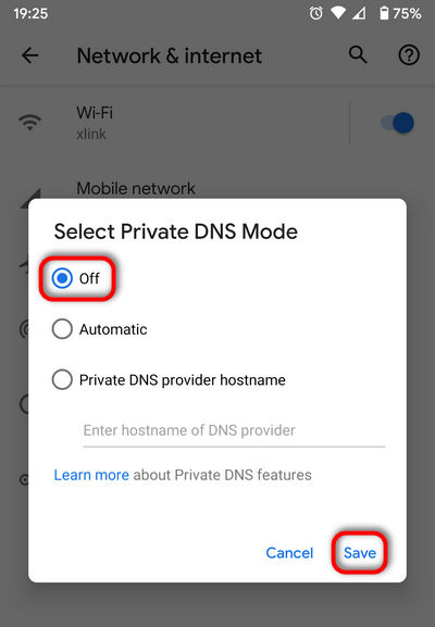 Turn off Private DNS mode