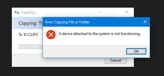 a device attached to the system is not functioning
