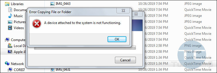 device attached to the system is not functioning Windows 7
