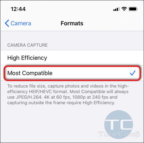 most compatible formats iPhone 11 camera capture