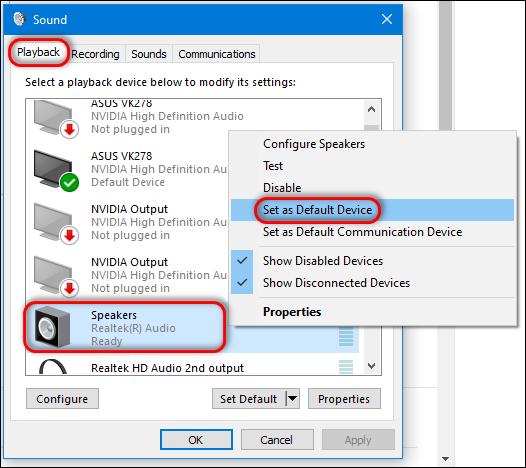 Speakers set as default device