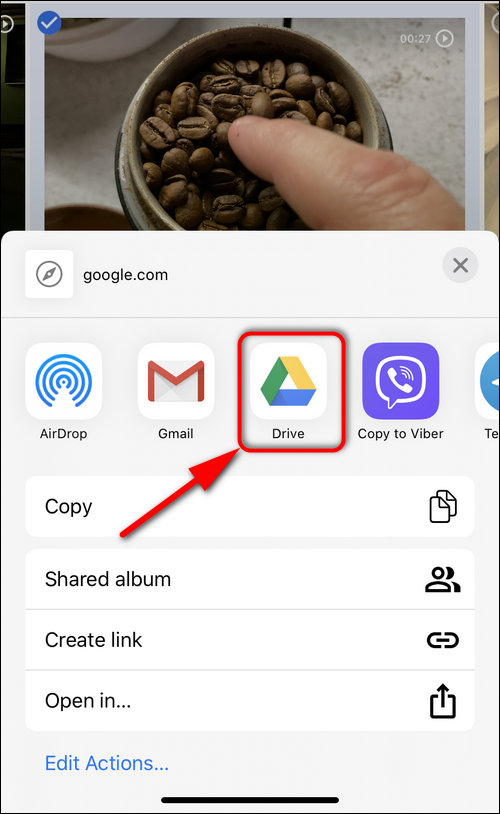 share to Google Drive app iOS