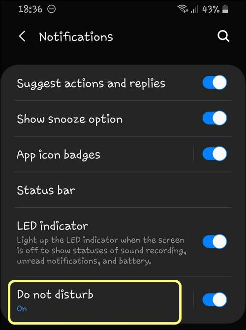 Do not disturb settings Galaxy OneUI 2