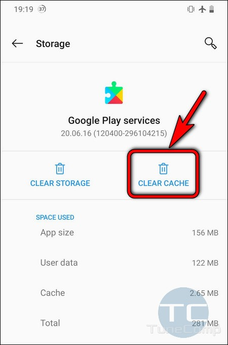 Google Play Services clear cache Android 10