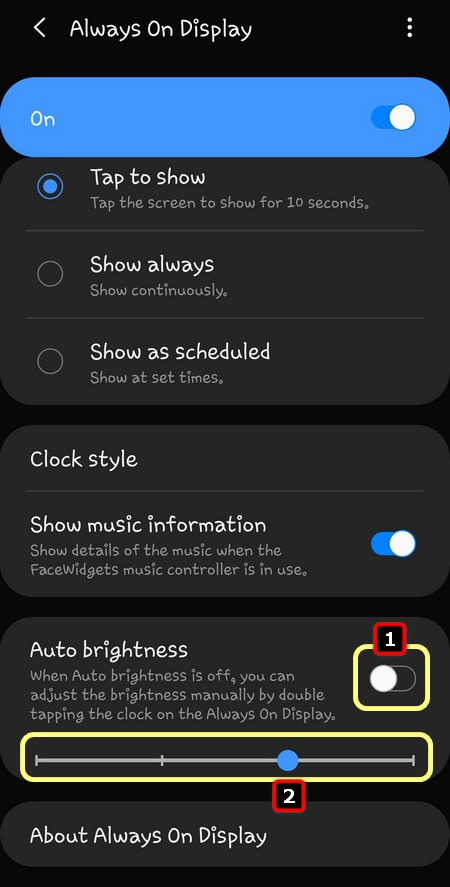 adjust always on display brightness Galaxy S20 One UI 2