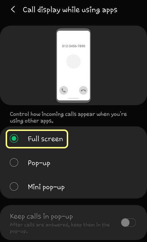 make incoming calls appear full screen