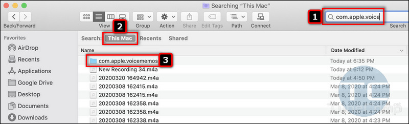 search for com.apple.voicememos in This Mac