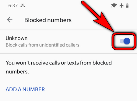block unidentified caller on OnePlus