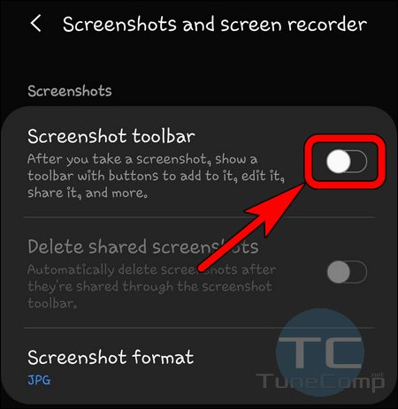 Disable screenshot toolbar Galaxy S20