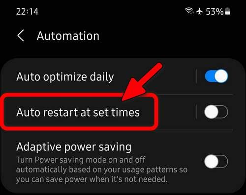 Galaxy S21 auto restart at set times