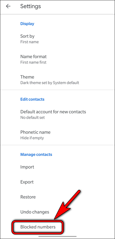 Google Contacts Blocked numbers
