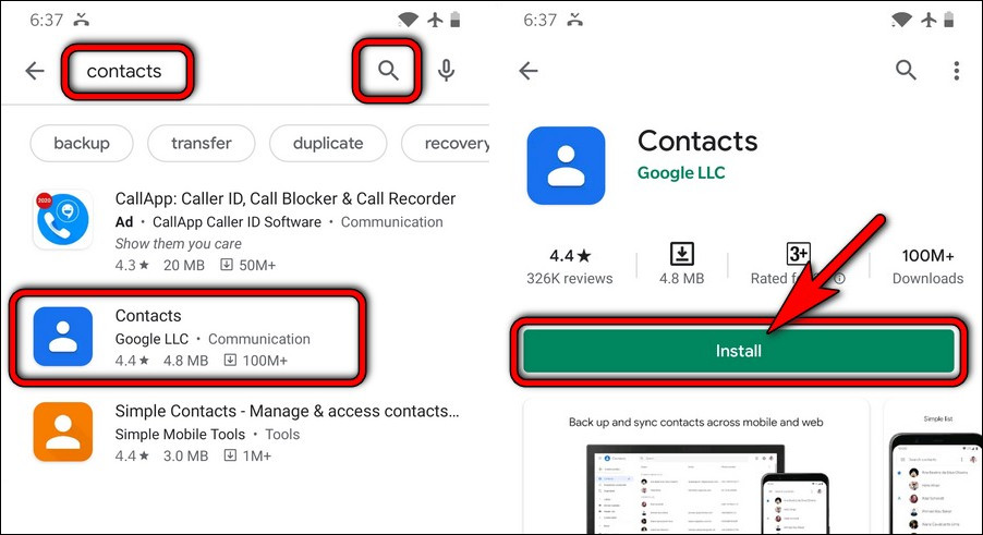 install Google Contacts app