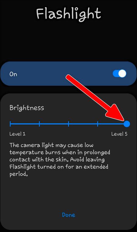 Adjust Flashlight Brightness on a Galaxy S20, S10 phone