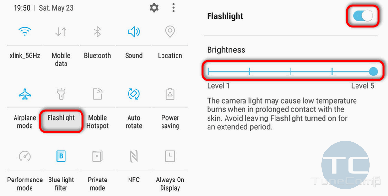 Flashlight brightness Galaxy S7