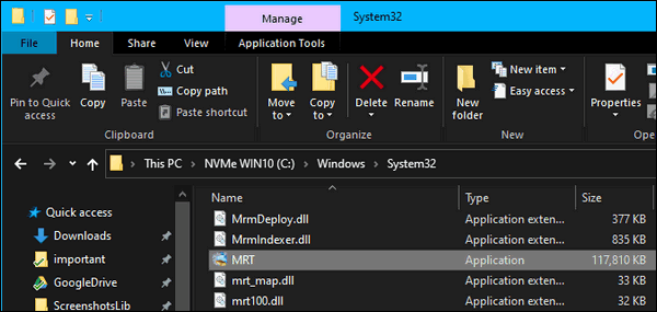 MRT in Windows 10